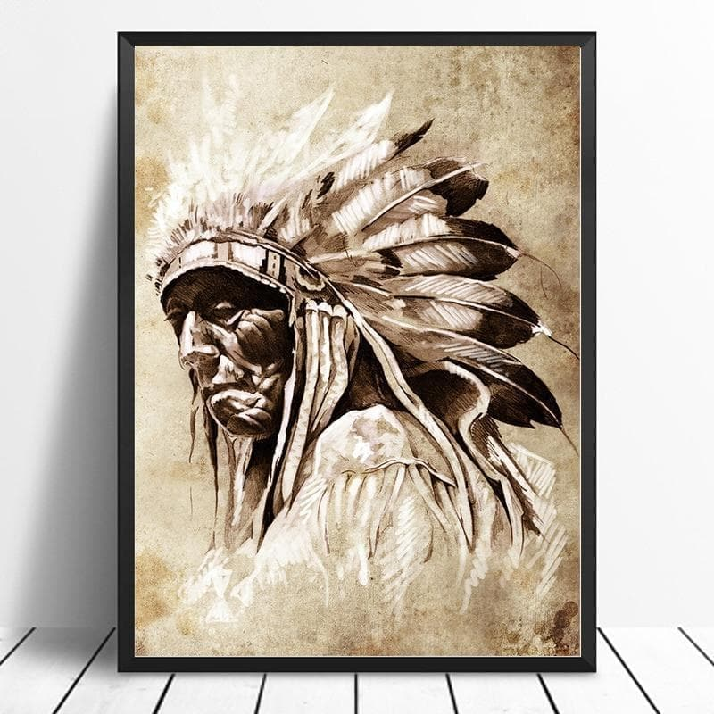 Native American Chieftain Black & White Portrait Canvas Ancient Treasures Ancientreasures Viking Odin Thor Mjolnir Celtic Ancient Egypt Norse Norse Mythology
