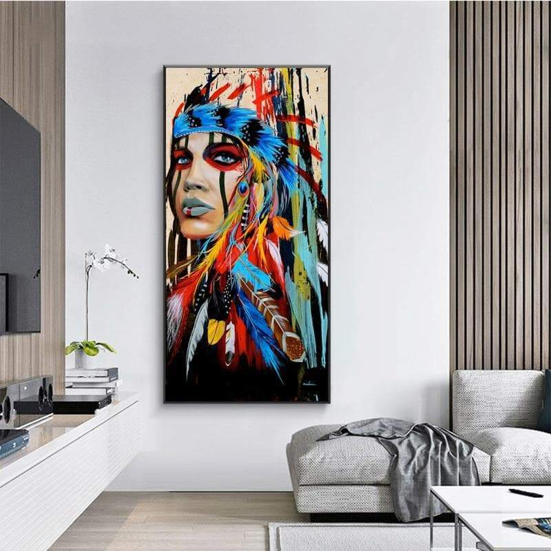 Native American Colorful Feathered Girl Canvas Painting Ancient Treasures Ancientreasures Viking Odin Thor Mjolnir Celtic Ancient Egypt Norse Norse Mythology