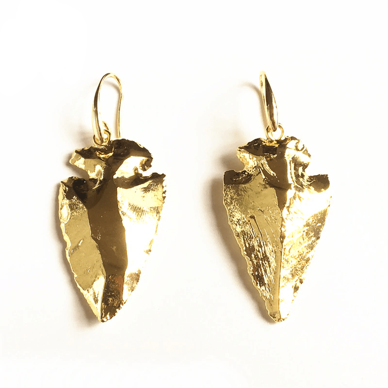 Native American Gold Dipped Flint Arrowhead Earrings Ancient Treasures Ancientreasures Viking Odin Thor Mjolnir Celtic Ancient Egypt Norse Norse Mythology