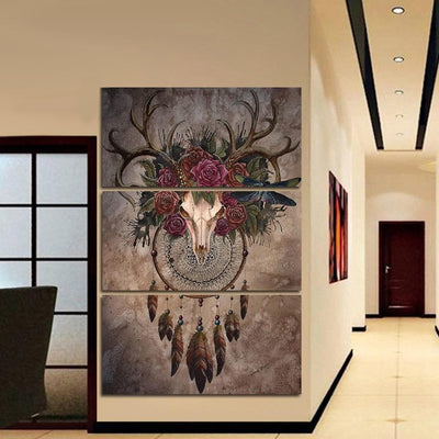 Native American Medium / Unframed Native American Buffalo Skull Wall Art Canvas