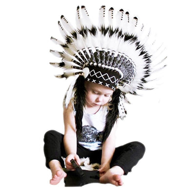 Native American Native American  Baby Warrior Black & White War Bonnet