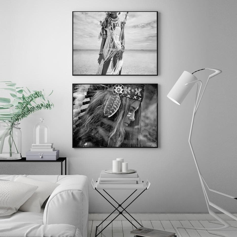Native American Black & White Indian Women Canvas