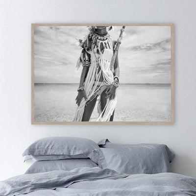 Native American Native American Black & White Indian Women Canvas