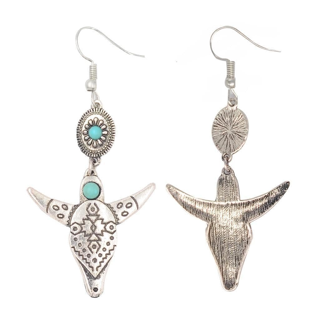Native American Native American Buffalo Head Bohemian Earrings