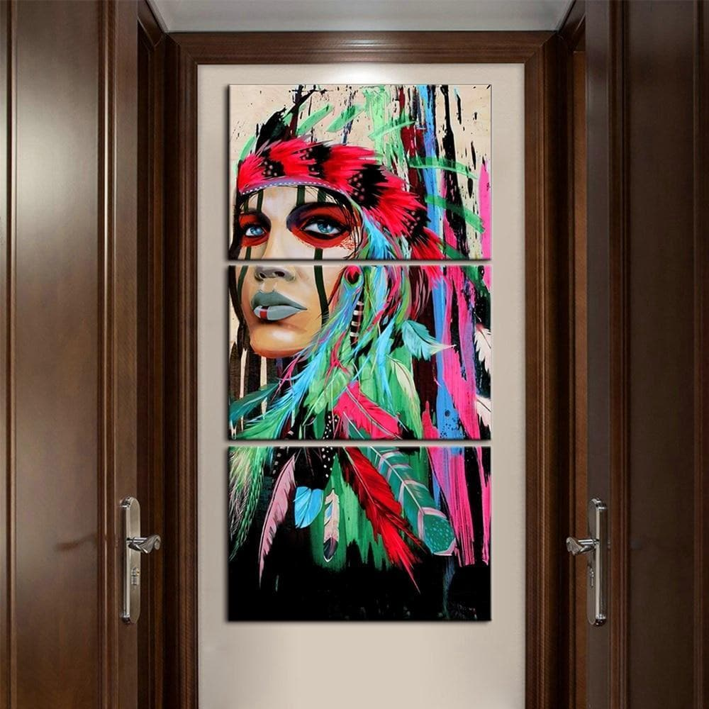 Native American Colorful Woman Canvas