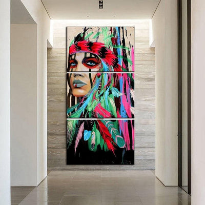 Native American Native American Colorful Woman Canvas