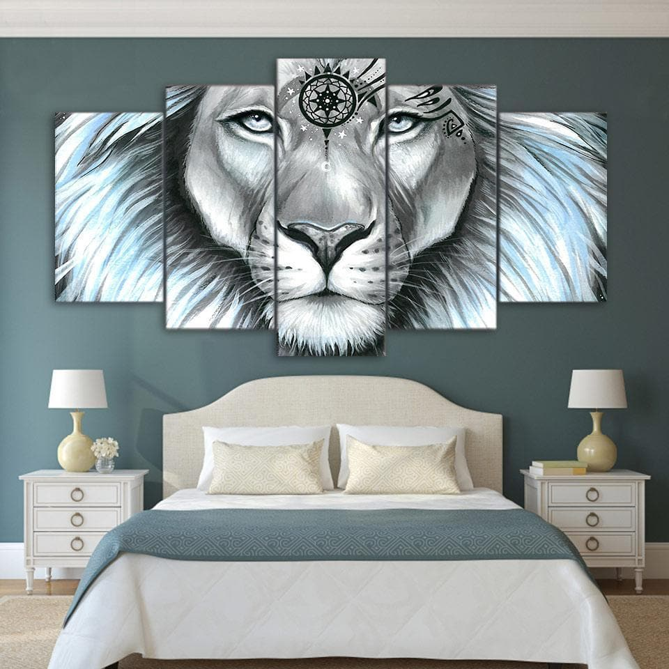 Native American Native American Galaxy Lion Canvas