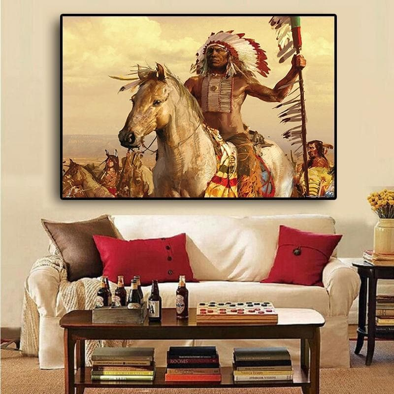 Native American Native American Indian Feathered Horse Oil Painting