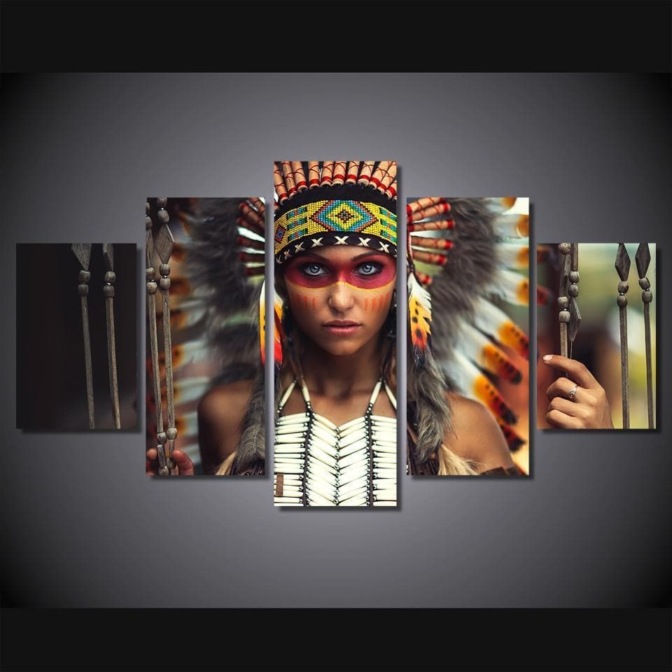Native American Indian Girl HD Printed Canvas