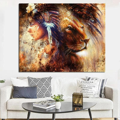 Native American Native American Lady With Lion Canvas