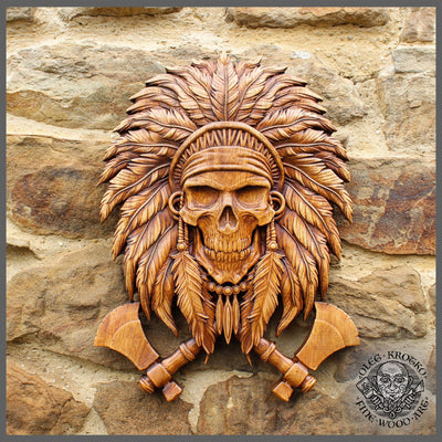 Native American Native American Skull Wood Carving