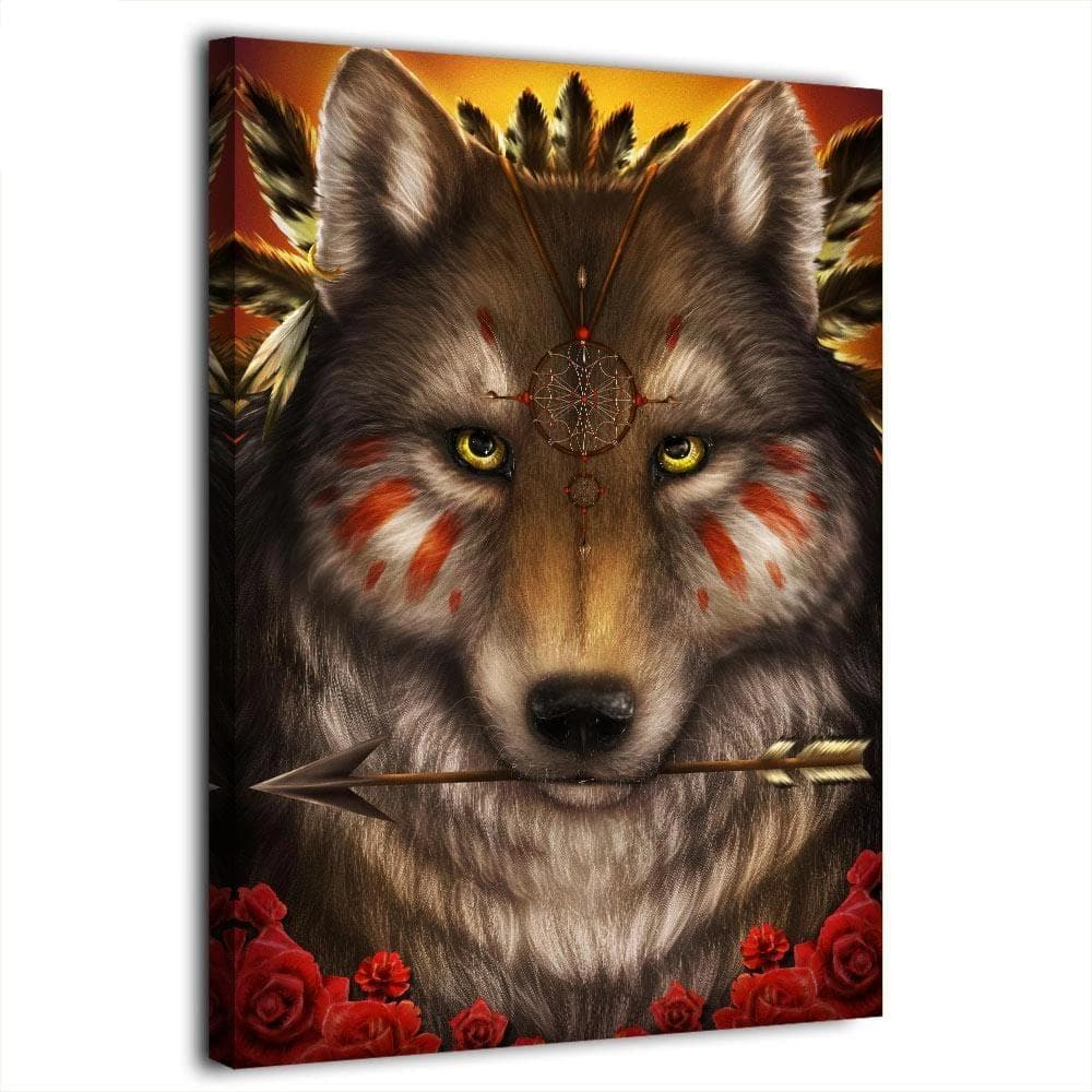 Native American Warrior Wolf Canvas