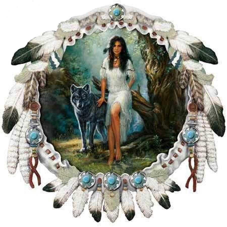 Native American Small Native American Indian Women & Wolf Diamond Painting