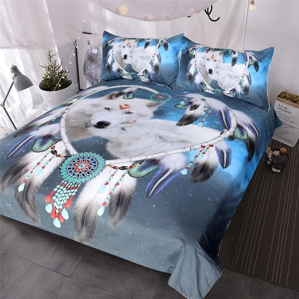 Native American Twin 173cmx218cm Native American Wolf Duvet Cover