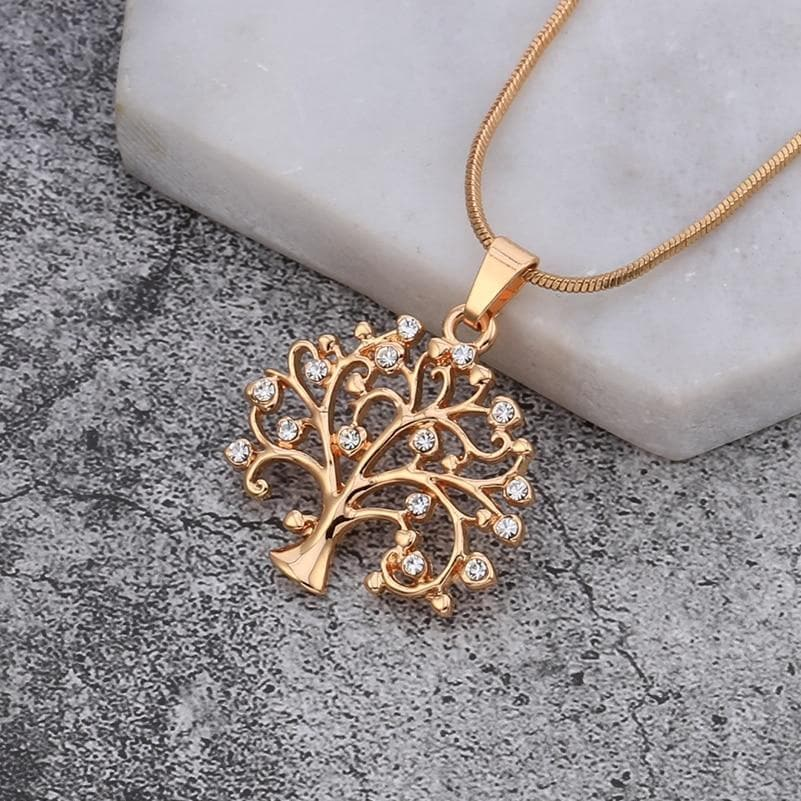 Delicate Crystal Tree of Life Pendant Necklace