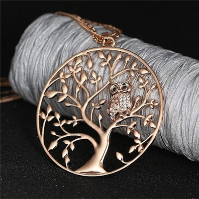 Necklace Rose Gold Tree of life Owl Necklace
