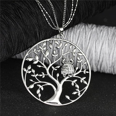 Necklace Silver Tree of life Owl Necklace