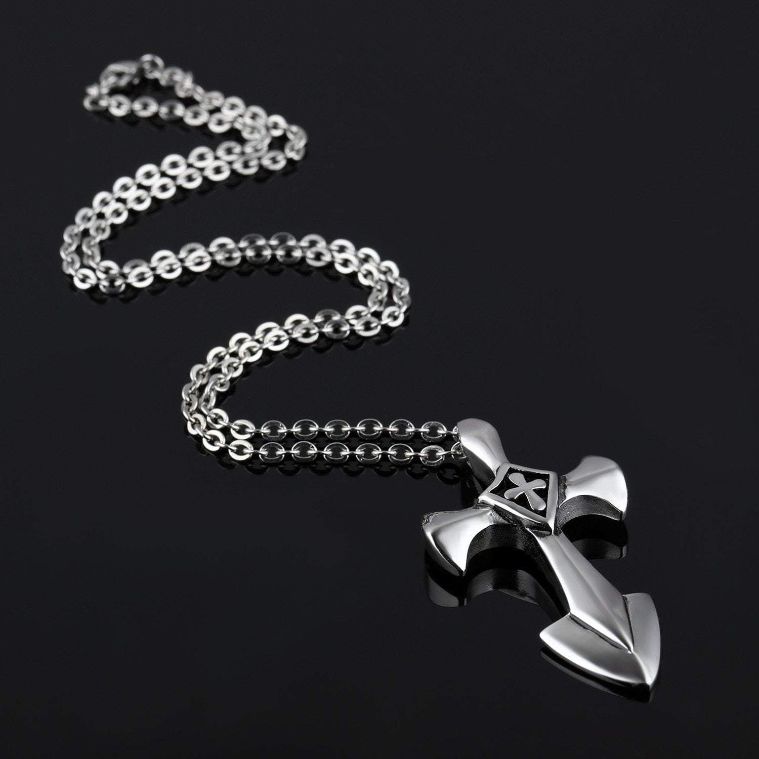 Necklace Stainless Steel Templar Cross Pendant