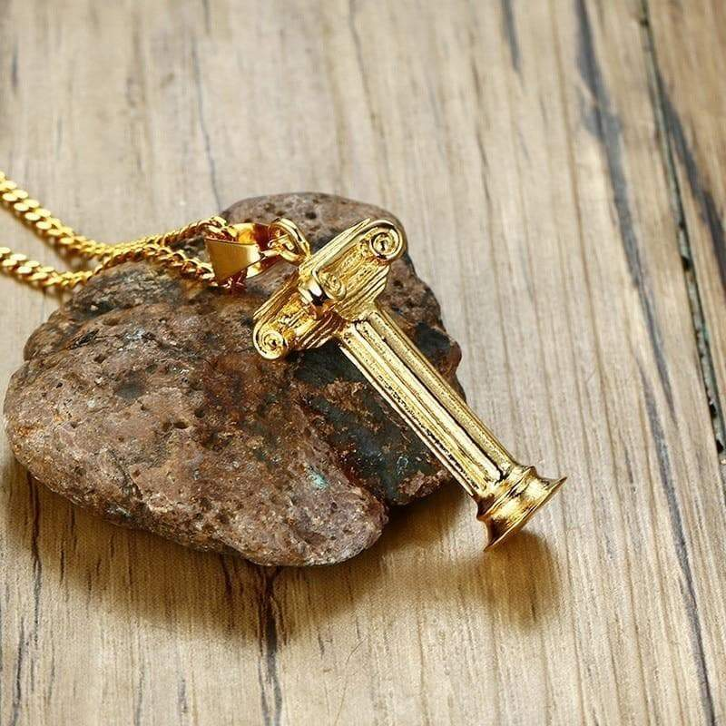 Pendant and Necklace Ancient Greek Gold Plated Column Men's Pendant & Necklace Ancient Treasures Ancientreasures Viking Odin Thor Mjolnir Celtic Ancient Egypt Norse Norse Mythology