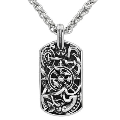 Pendant Necklaces 1 Men stainless steel viking odin's wolf amulet compass dog tag pendant necklace with viking figt bag Ancient Treasures Ancientreasures Viking Odin Thor Mjolnir Celtic Ancient Egypt Norse Norse Mythology