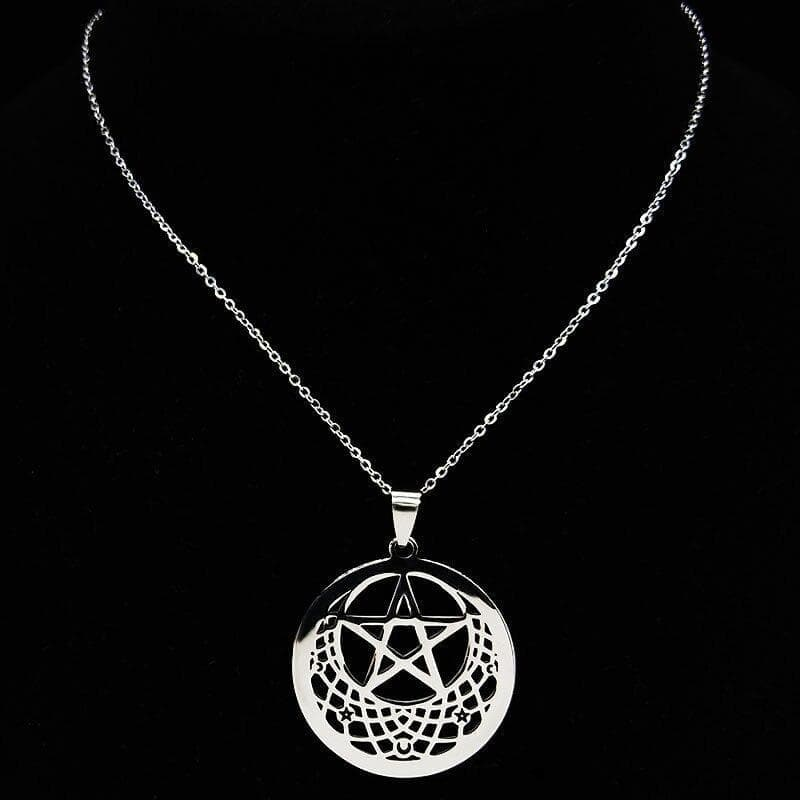 Pendant Necklaces 2021 Gothic Witchcraft Pentagram Stainless Steel Silver Color Necklace Women Jewelry joyas de acero inoxidable para mujer N19346|Pendant Necklaces| Ancient Treasures Ancientreasures Viking Odin Thor Mjolnir Celtic Ancient Egypt Norse Norse Mythology