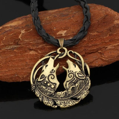 Pendant Necklaces bronze-Leather-chain Geri and Freki Amulet Necklace