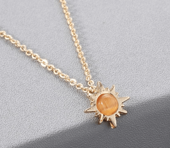 Pendant Necklaces Kinitial Fashion Stone Sun Necklaces Lucky Flower Gold Color Pendant Necklace Statement Chain Chkoer for Women Jewelry Gift|Pendant Necklaces| Ancient Treasures Ancientreasures Viking Odin Thor Mjolnir Celtic Ancient Egypt Norse Norse Mythology