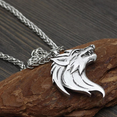 Pendant Necklaces Men Norse Viking Odin's Wolf Head Amulet Pendant Necklace with Gift Bag Ancient Treasures Ancientreasures Viking Odin Thor Mjolnir Celtic Ancient Egypt Norse Norse Mythology