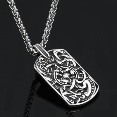 Pendant Necklaces Men stainless steel viking odin's wolf amulet compass dog tag pendant necklace with viking figt bag Ancient Treasures Ancientreasures Viking Odin Thor Mjolnir Celtic Ancient Egypt Norse Norse Mythology