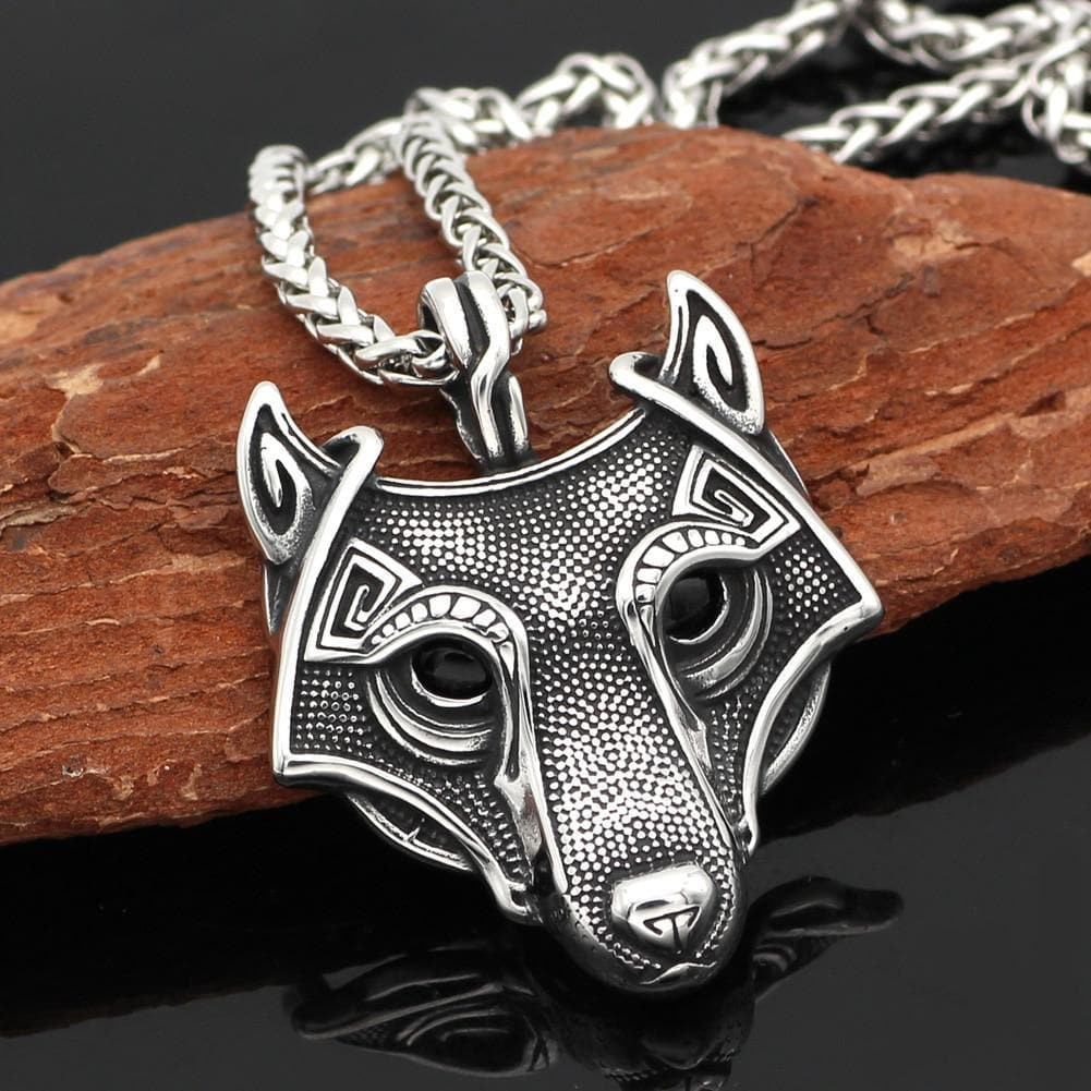 Viking Stainless Steel Wolf Head Necklace