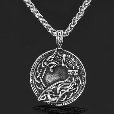 Pendant Necklaces Nordic Viking amulet drgon dreki Jormungand Knot pendant necklace stainless steel with valknut rune gift bag
