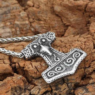 Pendant Necklaces Nordic Viking Mjolnir Stainless Steel Thor Hammer Raven Knot Amulet Necklace For Men With Valknut Gift Bag Ancient Treasures Ancientreasures Viking Odin Thor Mjolnir Celtic Ancient Egypt Norse Norse Mythology