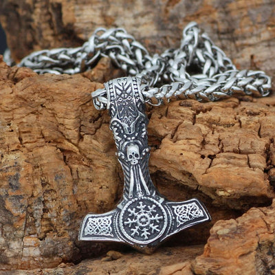 Pendant Necklaces Nordic Viking Skull Helm of Awe Necklace