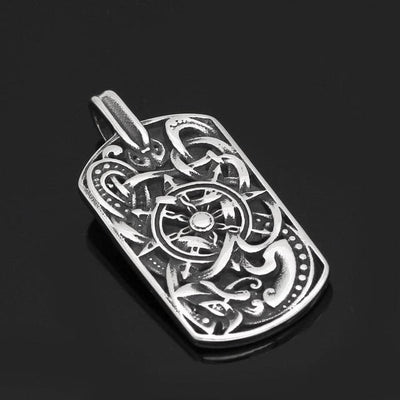 Pendant Necklaces Pendant Men stainless steel viking odin's wolf amulet compass dog tag pendant necklace with viking figt bag Ancient Treasures Ancientreasures Viking Odin Thor Mjolnir Celtic Ancient Egypt Norse Norse Mythology