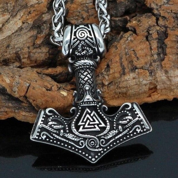 Viking necklaces made of stainless steel with leather cord Necklace Svalin Extended iconography in Celtic and Viking tribes