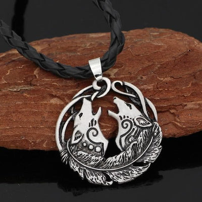 Pendant Necklaces silver-Leather-chain Geri and Freki Amulet Necklace
