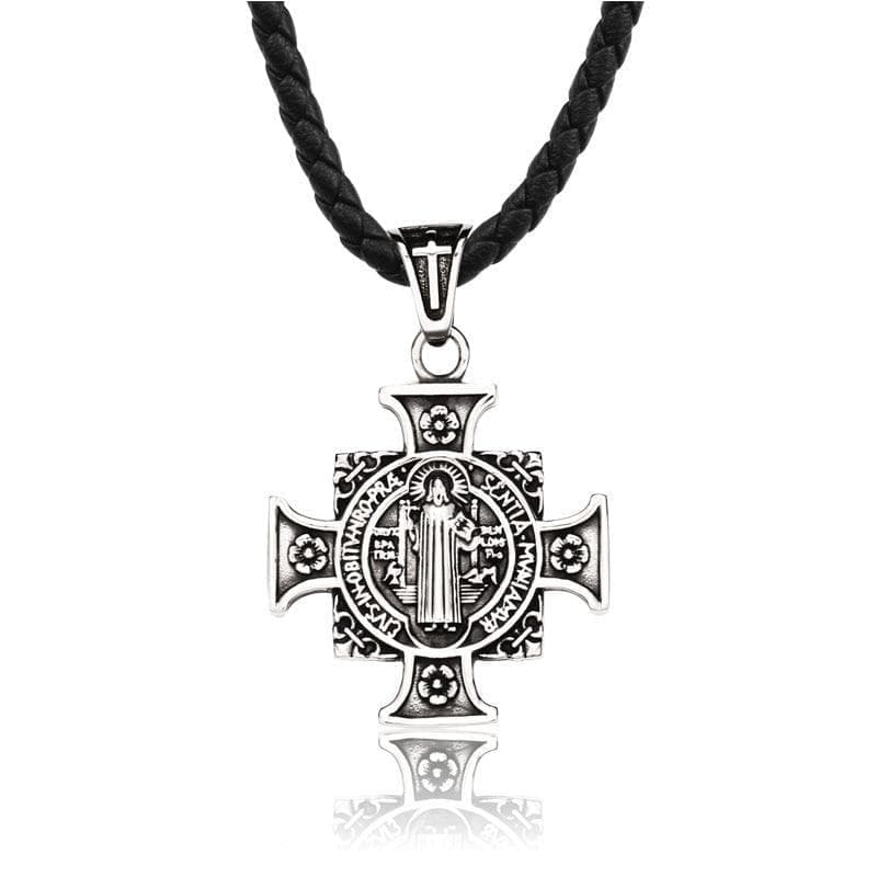 Pendant Necklaces Steel soldier Men's Christian pendant Stainless Steel Jesus Cross necklace Chain Jewelry|Pendant Necklaces| Ancient Treasures Ancientreasures Viking Odin Thor Mjolnir Celtic Ancient Egypt Norse Norse Mythology