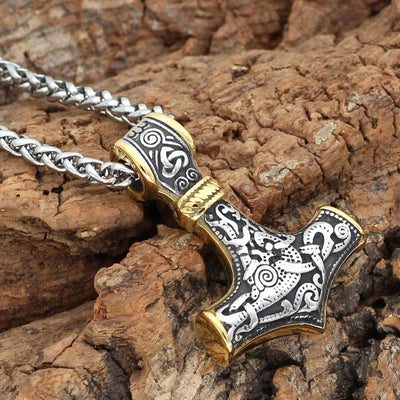Pendant Necklaces Viking 316L Stainless steel Thor Hammer Mjolnir Amulet Scandinavian pendant necklace Ancient Treasures Ancientreasures Viking Odin Thor Mjolnir Celtic Ancient Egypt Norse Norse Mythology