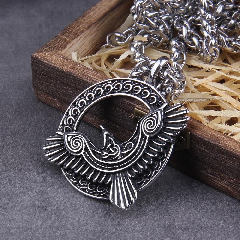 Pendant Necklaces Viking Ravens Huginn & Muninn Stainless Steel Necklace Ancient Treasures Ancientreasures Viking Odin Thor Mjolnir Celtic Ancient Egypt Norse Norse Mythology