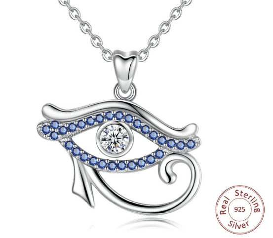 Pendants EUDORA 925 Sterling Silver Blue crystal Ancient Egypt Eye Of Horus pendant Necklace Luck Eye Fine Jewelry Birthday Gift D341|Pendants| Ancient Treasures Ancientreasures Viking Odin Thor Mjolnir Celtic Ancient Egypt Norse Norse Mythology