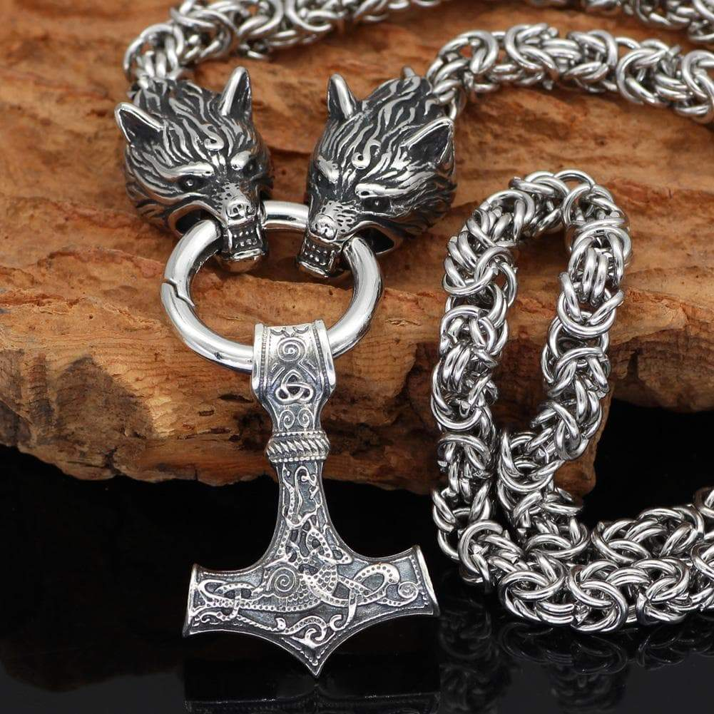 Pendants & Necklaces 50CM / 20 Inches Wolf Head Chain with Sterling Silver Mjolnir Ancient Treasures Ancientreasures Viking Odin Thor Mjolnir Celtic Ancient Egypt Norse Norse Mythology
