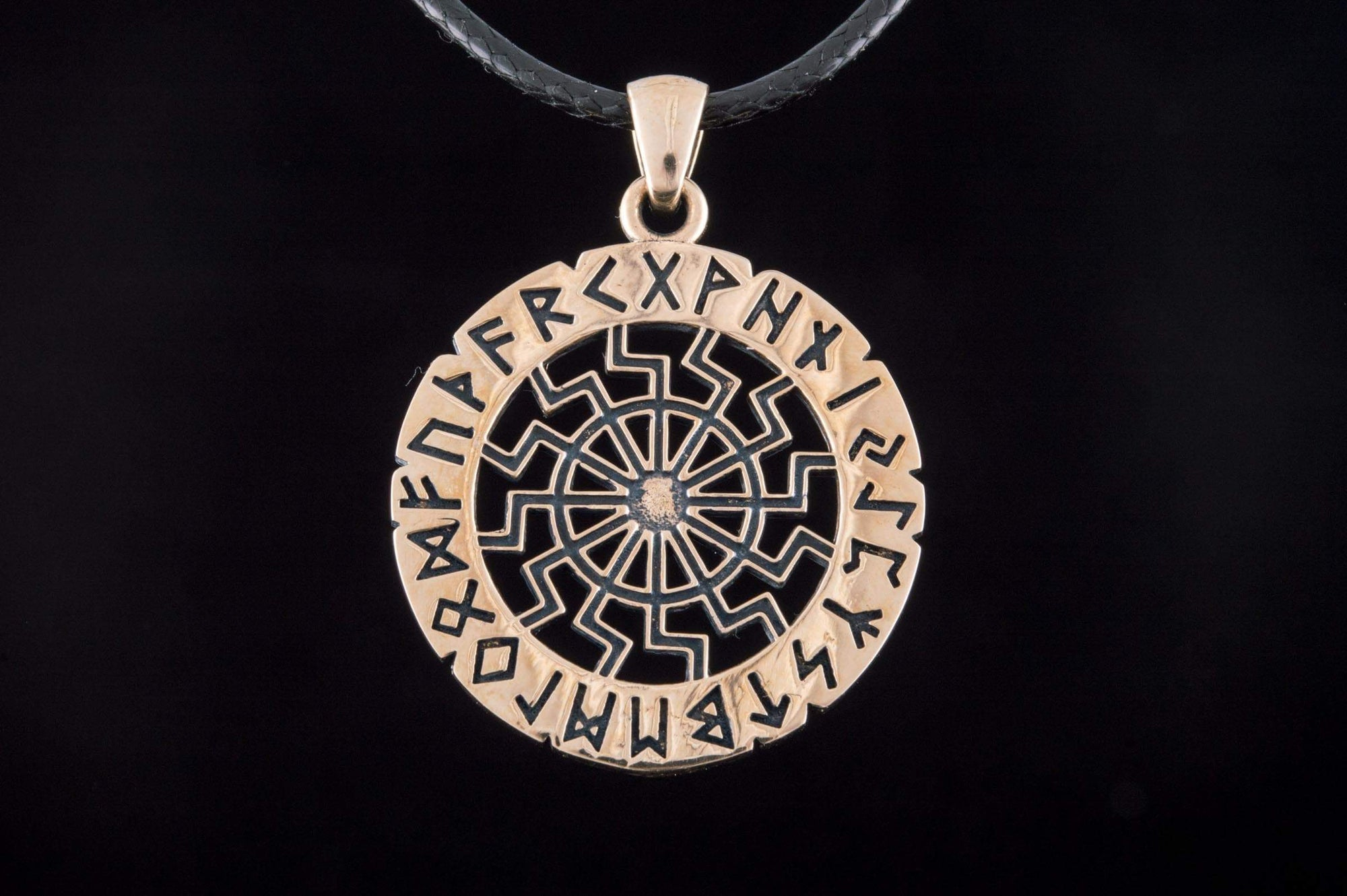 Vikings Black Sun with Elder Futhark Runes Pendant