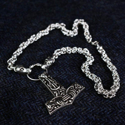 Pendants & Necklaces Long Chain (70cm) Viking Faroese Beasts Hammer Pendant on Dragon Chain Ancient Treasures Ancientreasures Viking Odin Thor Mjolnir Celtic Ancient Egypt Norse Norse Mythology