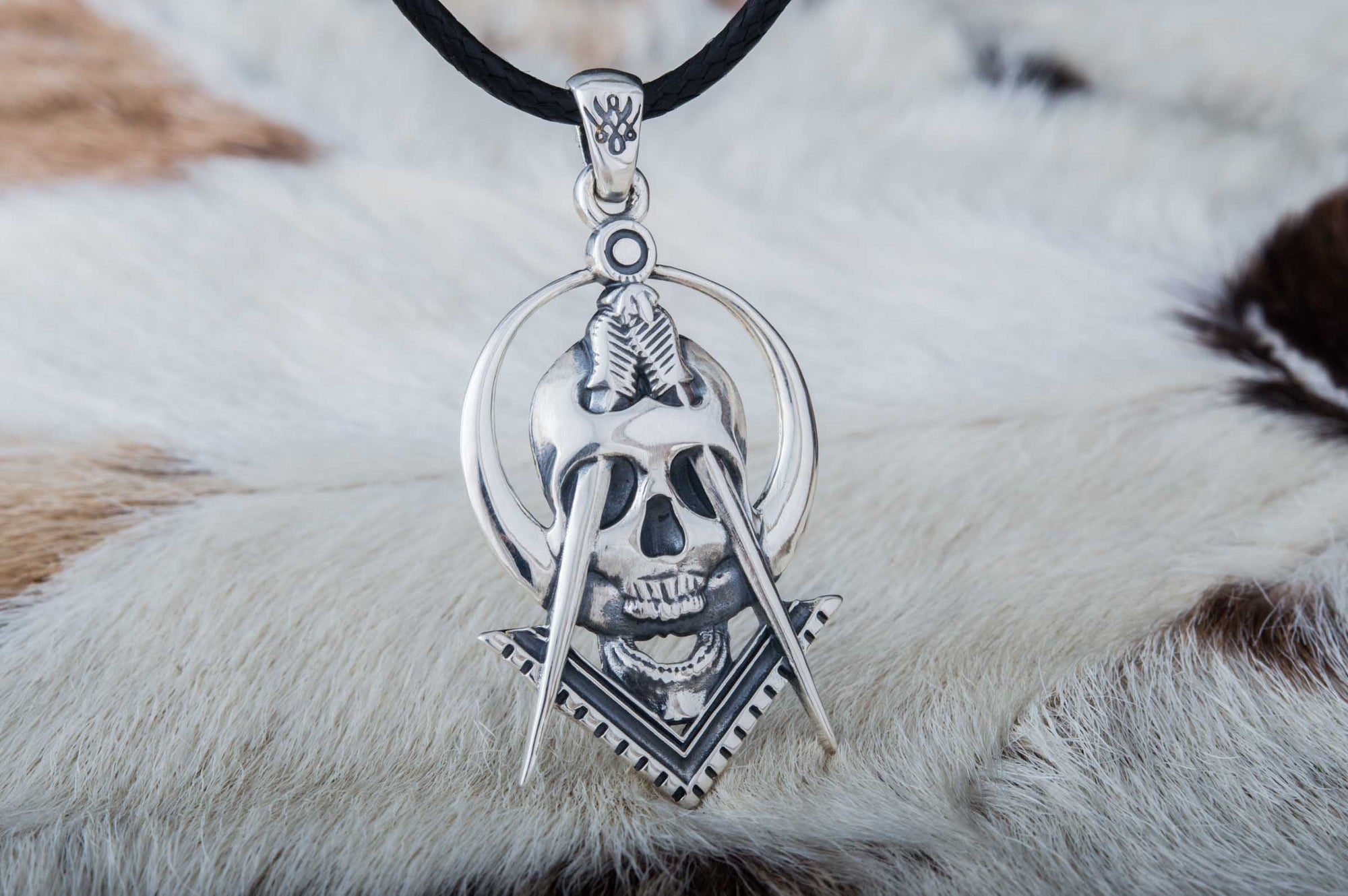 Pendants & Necklaces Masonic Compass and Skull Sterling Silver Handcrafted Pendant Ancient Treasures Ancientreasures Viking Odin Thor Mjolnir Celtic Ancient Egypt Norse Norse Mythology