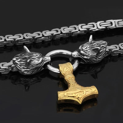 Pendants & Necklaces Massive Stainless Steel Wolf King Chain with Gold Mjolnir