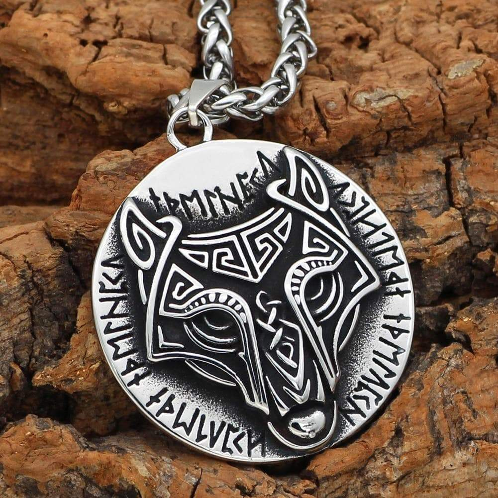 Pendants & Necklaces Noridc Viking Wolf Rune Stainless Steel Necklace For Men With Valknut Gift Bag Ancient Treasures Ancientreasures Viking Odin Thor Mjolnir Celtic Ancient Egypt Norse Norse Mythology
