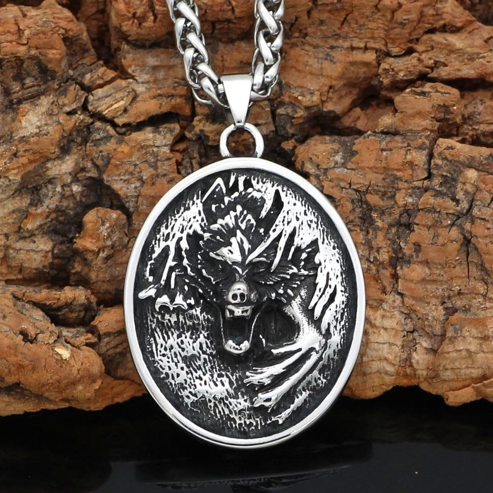 Pendants & Necklaces Pendant and Necklace Viking Nordic Wolf - Fenrir Stainless Steel Oval Pendant and Necklace Ancient Treasures Ancientreasures Viking Odin Thor Mjolnir Celtic Ancient Egypt Norse Norse Mythology