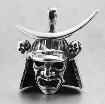 Feudal Japan Samurai Helmet Mask Pendant and Necklace