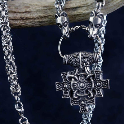 Vikings Hiddensee Thor Hammer Pendant on Dragon Chain