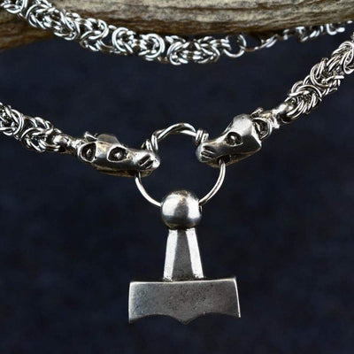 Pendants & Necklaces Regular Chain (50cm) Vikings Thor Mjolnir Pendant on Dragon Chain Ancient Treasures Ancientreasures Viking Odin Thor Mjolnir Celtic Ancient Egypt Norse Norse Mythology